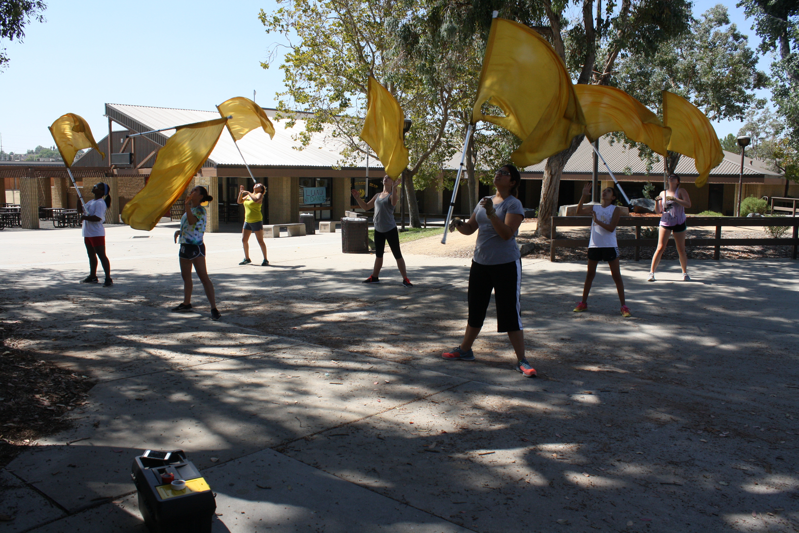Color Guard Practices with Gold Flags